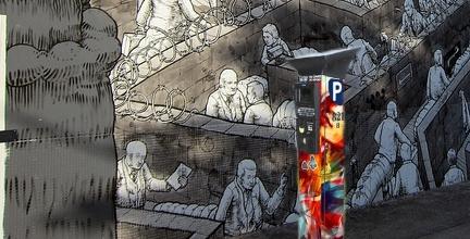Artist art work on pay and display machine