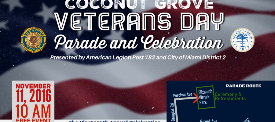 Coconut Grove Veterans Day Parade Flyer 2016.